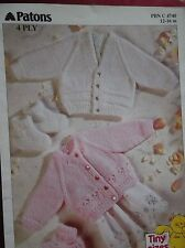 Patons Fairytale 4 Ply Cardigans 4740 tiny sizes 12 - 16 inches PREMATURE doll