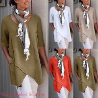 Women Cross Design Half Sleeve Cotton And Linen Blouse Tops T Shirt Pocket US