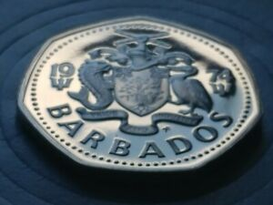 RARE PROOF 1974 BARBADOS DOLLAR COIN Proof Low MINTAGE with new Holder.