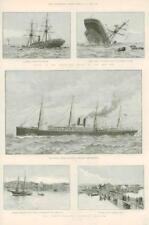 1890 antica stampa-Terranova Pesca controversia NAVE A VAPORE OROTAVA dacca (133)
