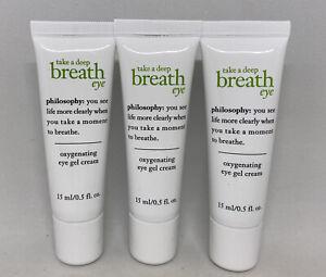 3x PHILOSOPHY Take a Deep Breath Oxygenating Eye Gel Cream .5oz = 1.5 oz Full SZ