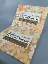 More details for vintage pair  of sealed new old stock flower pillowcases housewife yellow orange