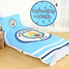 MANCHESTER CITY FC PULSE SINGLE DUVET COVER SET REVERSIBLE FOOTBALL BEDDING KIDS