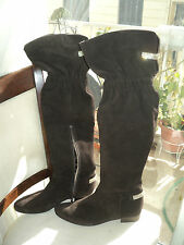 "DESIGNER ""MOCASSINO"" BROWN SUEDE REAL LEATHER OVER KNEE BOOTS*EU38*UK5*US7,5"