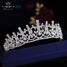 European Sparkling Zircon Crystal Bridal Tiaras Crowns Wedding Hair Accessory