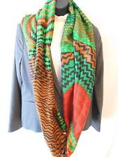 Manhattan Scarf Co. Polyester Infinity Loop Green Geometric Scarf SR$18 NEW