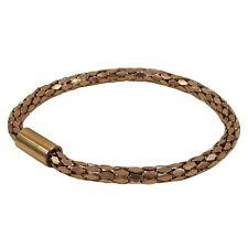 "Teens Adult Bangle Bracelet 7"" Rose Gold-Tone Stainless Steel Mesh"