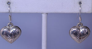 STERLING SILVER ENGRAVED DESIGN PUFFY 3-D HEART PIERCED DANGLE EARRINGS