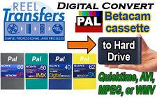 Convert PAL BetacamSX/Digi-Beta/MPEG IMX tape transfer to HDD (PAL or NTSC)