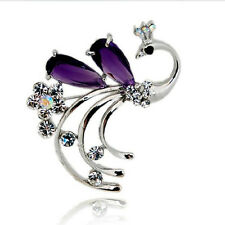 Amazing Shiny Silver & Purple Phoenix Brooch Pin BR206