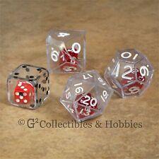 NEW Set of 4 Clear DOUBLE DICE D6 D10 D12 D20 RPG Math