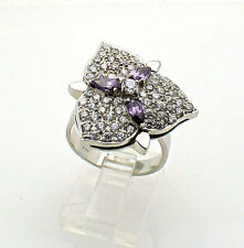 Cocktail IRIS Flower 14k WHITE GOLD RING AMETHYST 10grams