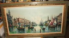 CHAMALE PARIS RIVER BOATS CANAL SCENE HUGE ORIGINAL OIL ON CANVAS PAINTING