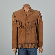 M 1970s Mens Brown Leather Bohemian Jacket Fringe Trim Outerwear Hippie 70s VTG