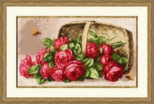 GOLDEN FLEECE COUNTED CROSS STITCH KIT ROSES IN THE BASKET  FLOVERS NATURE NEW