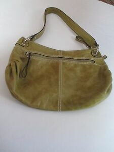 Tignanello Vintage Leather Hobo Style Pea Green Color Handbag Purse w/key chain