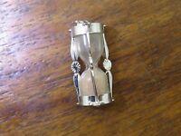 Vintage silver MOVABLE ANTIQUE LIGHT PINK HOURGLASS KISS TIMER PENDANT charm #M