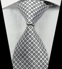 New Classic Patterns White Black JACQUARD WOVEN 100% Silk Men's Tie Necktie