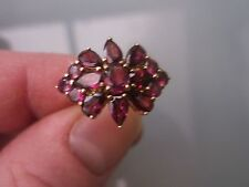 Women's 9ct Gold Tourmaline Cluster Ring Weight 3.5g Size N Stamped Quality Ring