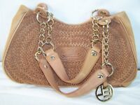 Elliott Lucca Brown Beige Leather Shoulder Bag Purse