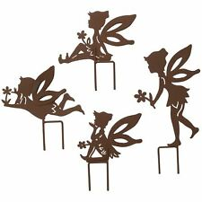 Set of 4 Small Rustic Fairy Silhouettes With Stake Garden Deco Ornament