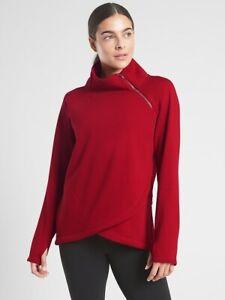 ATHLETA Cozy Karma Asym Pullover XXS  XX-Small | Candy Red Sweatshirt Top NEW