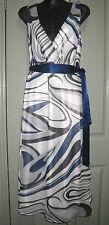 Elegant Chic 14 Sheer White Blue Black Swirl Cross V Neck & Back Occasions Dress