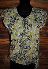 Women's Top by 'Apt 9'  Peasant Style with Tie Waist and 1/4 Button Size Med