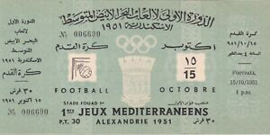 Egypt 1951 1st Mediterranean Games Alexandria Ticket Football Soccer