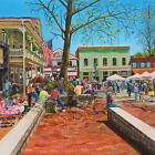 Street Life in America Wall Art For Living Room Oil Painting On Canvas