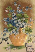 Postcard, Just A Few Lines Embossed Gold Clover Flowers Vintage G02