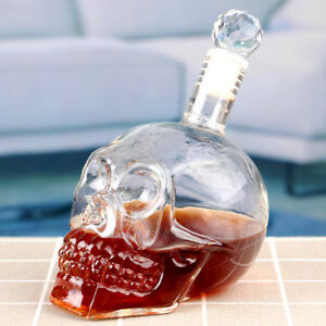 Wine Decanter Bottle Crystal Skull Head Whiskey Vodka Glass Beer Spirit