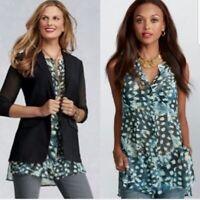 CAbi Womens Semi Sheer Button Up Front Tank Tunic Top Blue Sz Medium