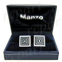 New Men's Cufflinks cuff links square mother of pearl Black white square pattern