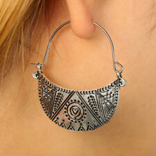 Tribal Gypsy Totems Antique Antique Silver Tone Moon Hoop Earrings Carved Hollow