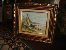 Vintage Nautical painting On Canvas Signed Shing-Framed Painting Of Boats-LQQK