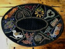 Fall Crazy Table Mat Wool Applique Primitive Gatherings Pattern