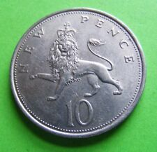 1968 British Ten Pence Coin High Grade With Luster Elizabeth II - Free Shipping
