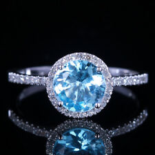 Solid 10K White Gold Round Sky Blue Topaz Diamonds Engagement Wedding Fine Ring