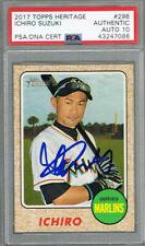 Ichiro Suzuki Miami Marlins Autographed 2017 Topps Heritage #298 Card PSA DNA 10