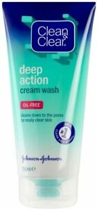 Clean & Clear Oil Free Deep Action Cream Wash (150ml) - Pack of 2 - Clear Skin