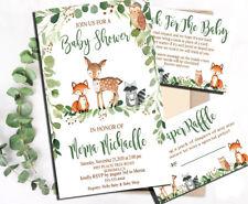 free shipping baby shower invitation greenery,wood land animals,plus free cards