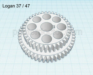 Logan 9, 10, 11 lathe 37 / 47 tooth metric transposing Nylon gear US made by FMD
