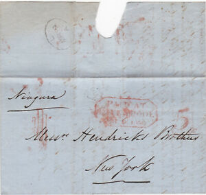 1850 PAID AT LIVERPOOL TRANSATLANTIC STAMPLESS LETTER TO HENDRICKS BROTHERS USA