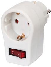 Brennenstuhl Steckdosenadapter, Schutzkontaktsteckdose mit Schalter mit weiß