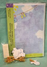 Baby Shower Announcement Kit Girl Boy Blue 10 Invitations Envelopes Clothesline