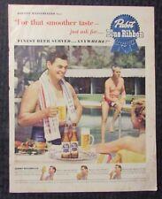 "1950 Pabst Blue Ribbon PBR 10.5x13"" Print Ad VG+ 4.5 Johnny Weissmuller / Tarzan"