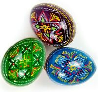 3 Wooden Ukrainian Easter Eggs Pysanka Pysanky Pisanki in Gift Bag Писанки