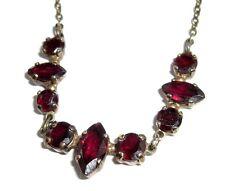 A5 Vintage Granat Collier 925 Silber vergoldet 9 Granat Steine 3,80 carat