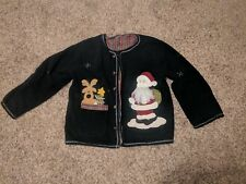 Ugly Christmas Sweater Vest XXL Santa Reindeer Black